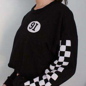 Black Checkered Cropped Sweater